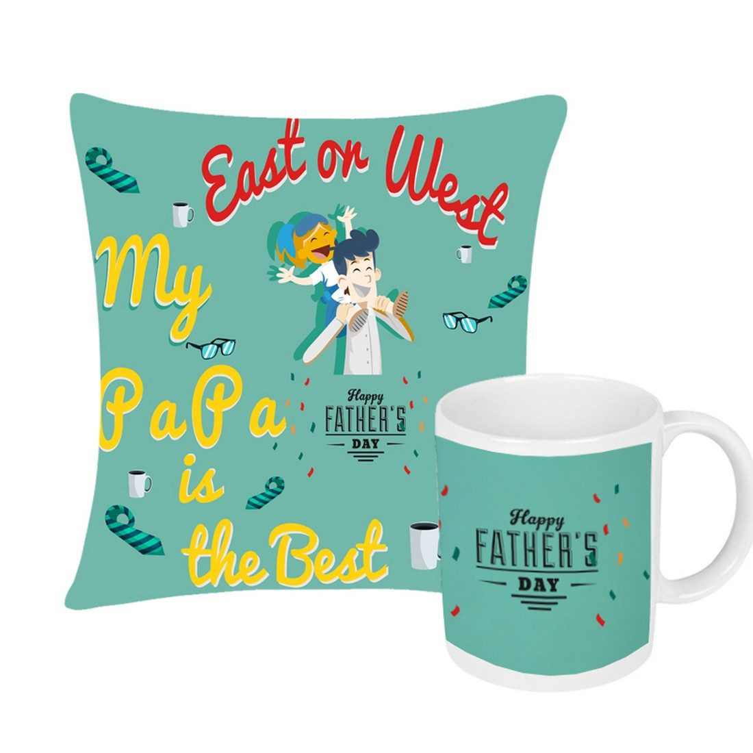 Sattva Combo Premium Printed Cushion Cover With Filler 16 X16 Inches & Ceramic Mug 350 ML EVSCOCM06 For Father's Day