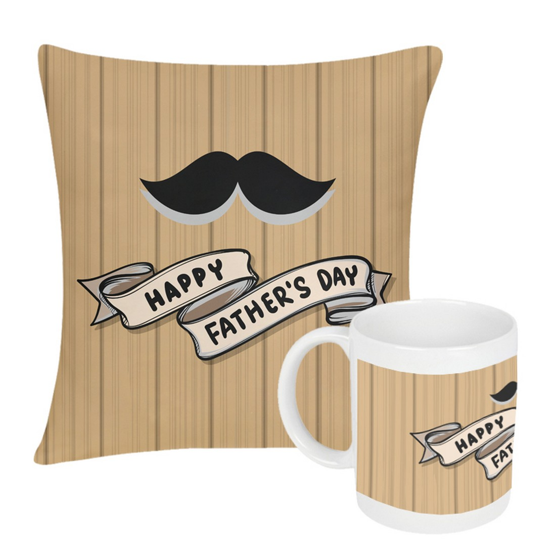 Sattva Combo Premium Printed Cushion Cover With Filler 12 X12 Inches & Ceramic Mug 350 ML EVSCOCM010 For Father's Day