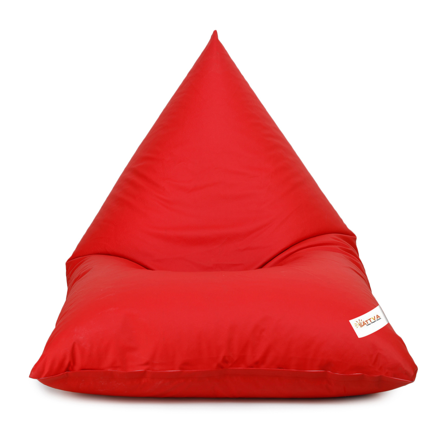 Sattva Triangle Shaped Bean Bag Chair Filled (with Beans) Colour - Red