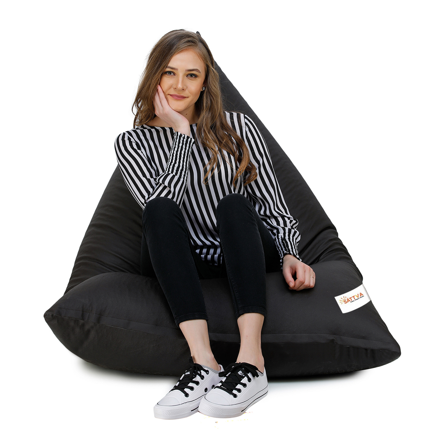 Sattva Triangle Shaped Bean Bag Chair Filled (with Beans) - Brown