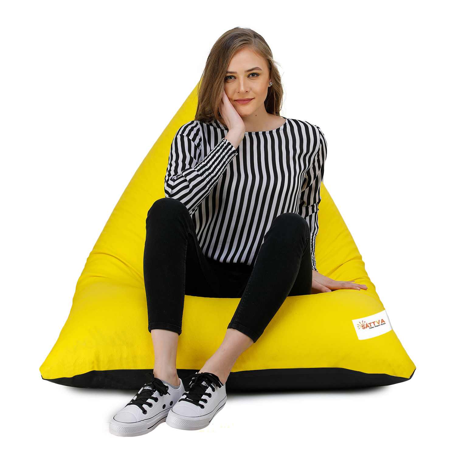 Sattva Triangle Shaped Bean Bag Chair Filled (with Beans) Colour - Black Yellow