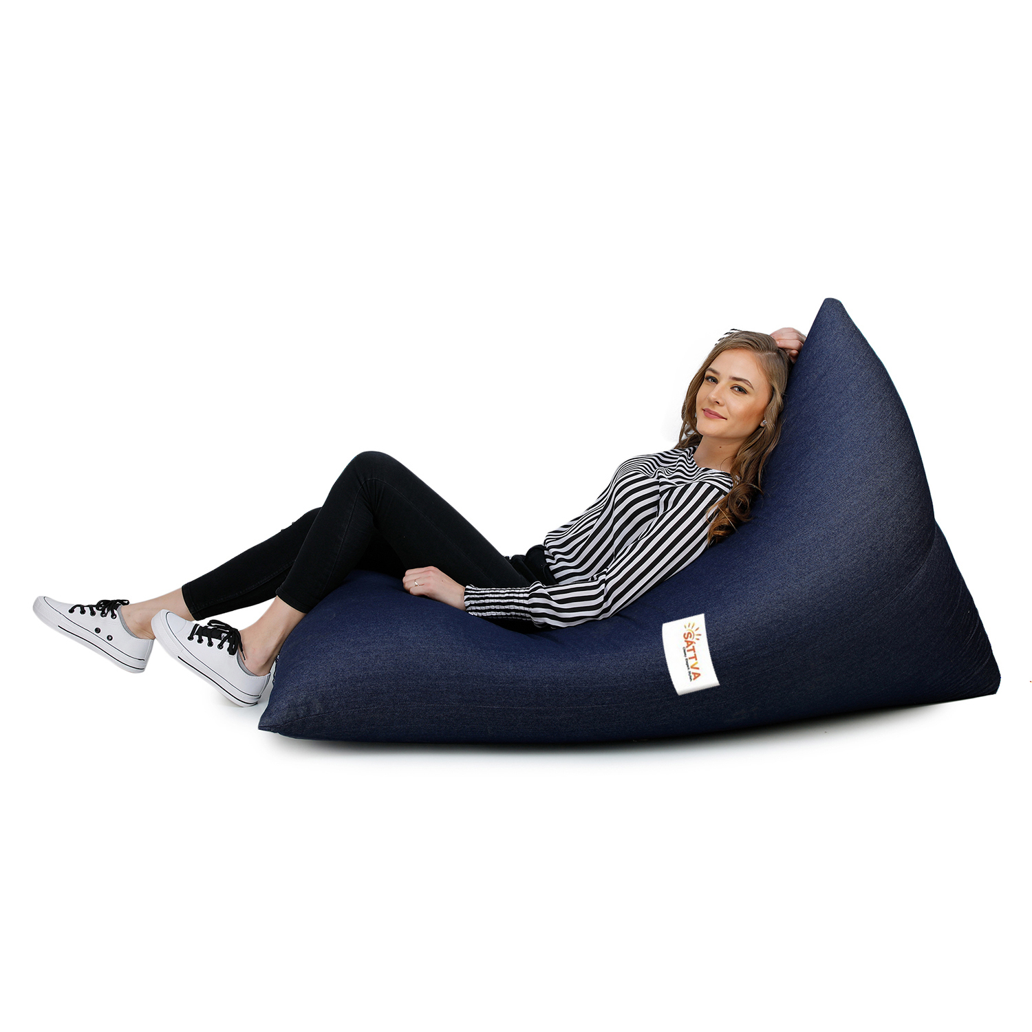Sattva Triangle Shaped Bean Bag Chair Cover (Without Beans) - Denim