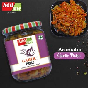 Add Me Garlic Pickle 500G Glass Pack Lassan Lahsun Ka Achar, Tangy And Delicious