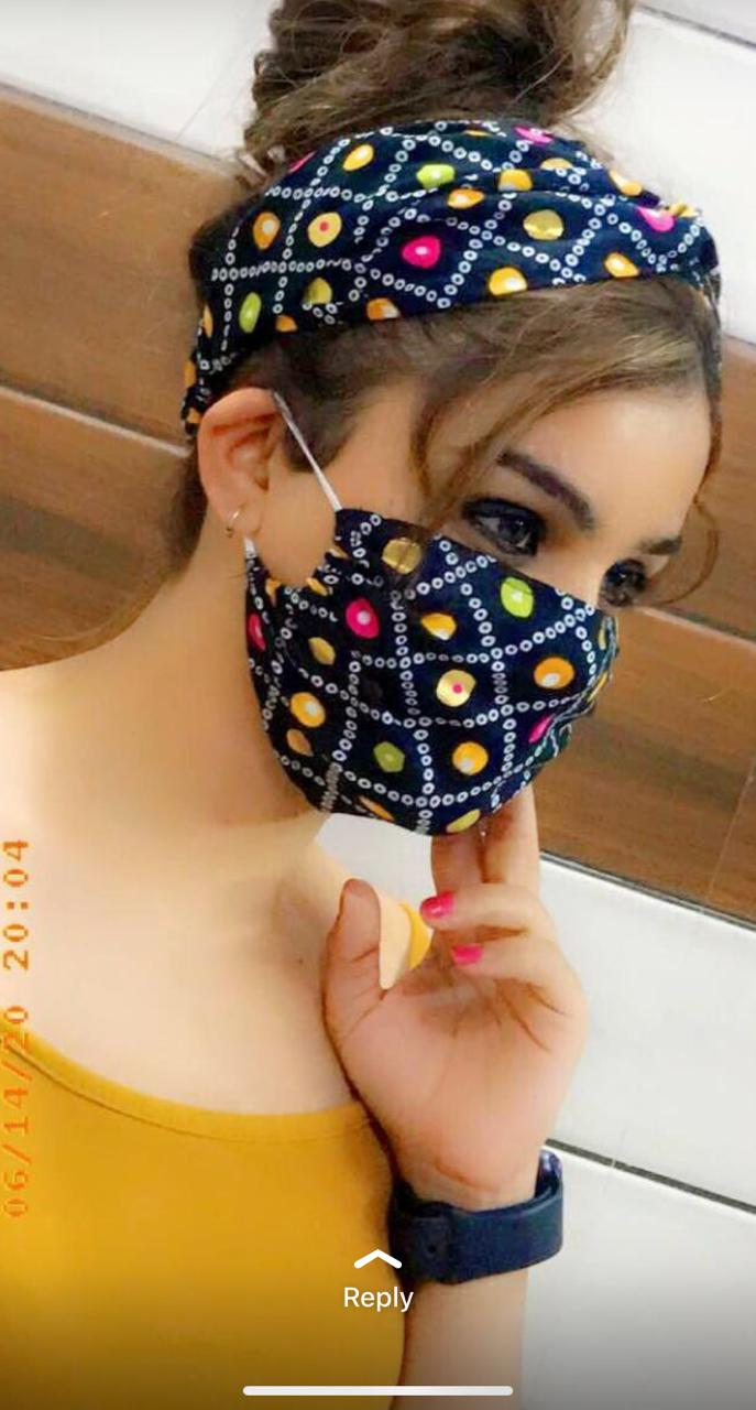 Flower Printed Twist Knotted Head Wrap Hairband And Mask For Women