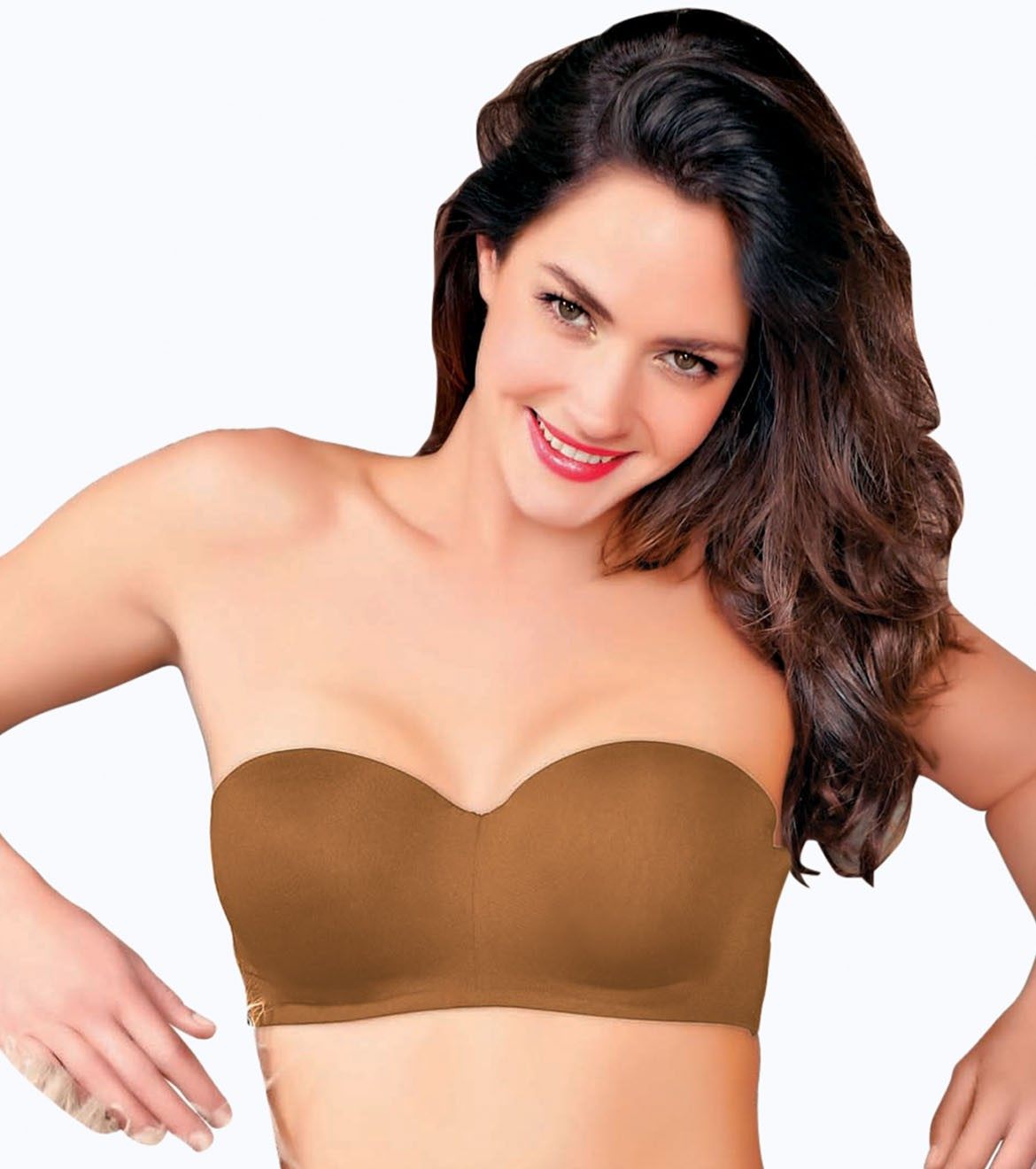 Enamor Women F074 Full Figure Strapless & Multi-Way Bra (34D,BUFF)