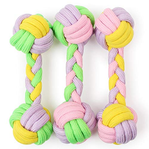 Pets Empire DentaFun Dog/Puppy Rope Dumbbell Toy, Tug/Pull Teething Aid, Cleans Teeth 1 Piece (Color May Vary)