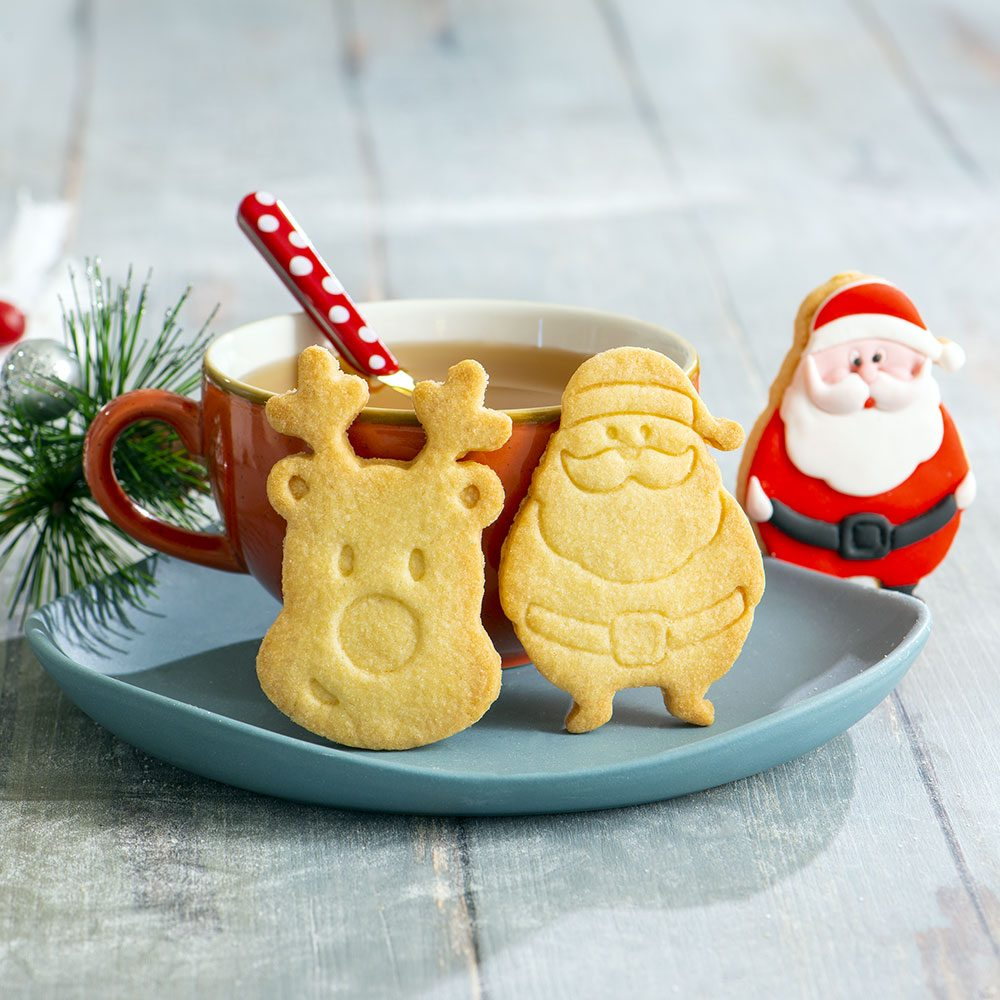 SANTA CLAUS AND REINDEER COOKIE CUTTER SET OF 2 8/7 X H 2,2 CM 255095