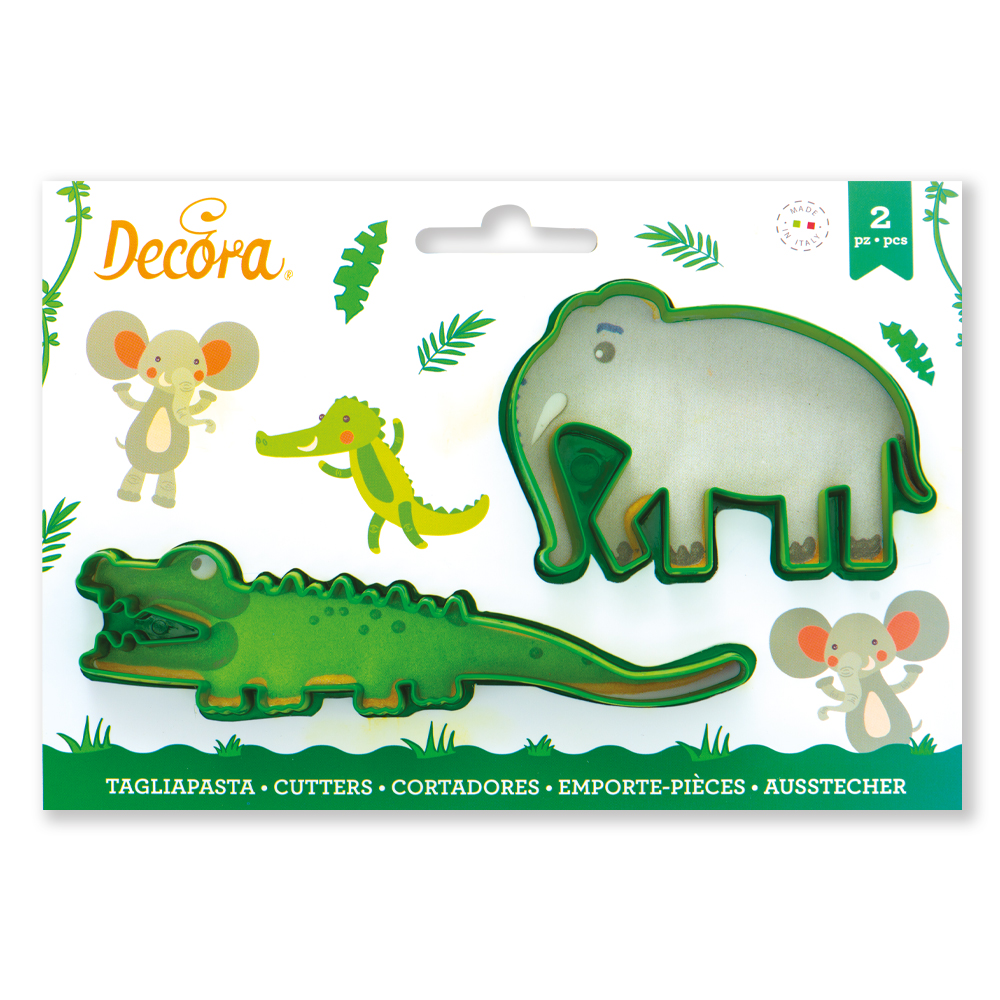 CROCODILE AND ELEPHANT PLASTIC COOKIE CUTTERS SET OF 2 255191