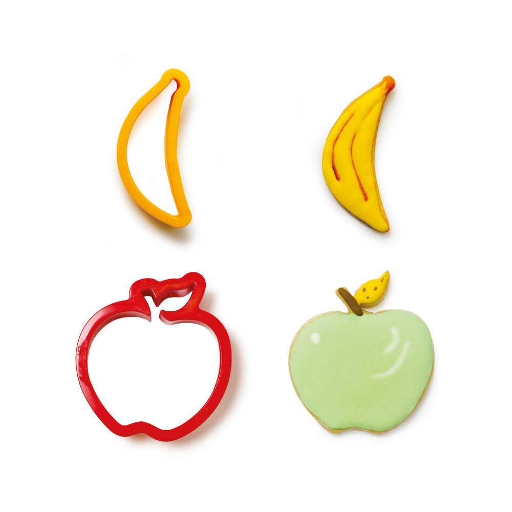 BANANA AND APPLE PLASTIC COOKIE CUTTERS SET OF 2 255204