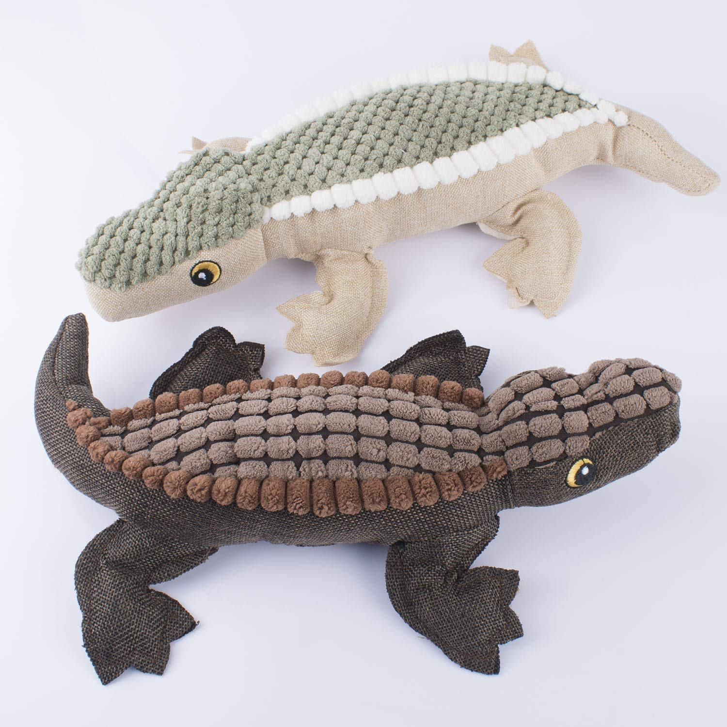 Pets Empire Dog Squeaky Toy, Crocodile Shape Soft Plush Dog Toy With Inside Squeaker, Brown