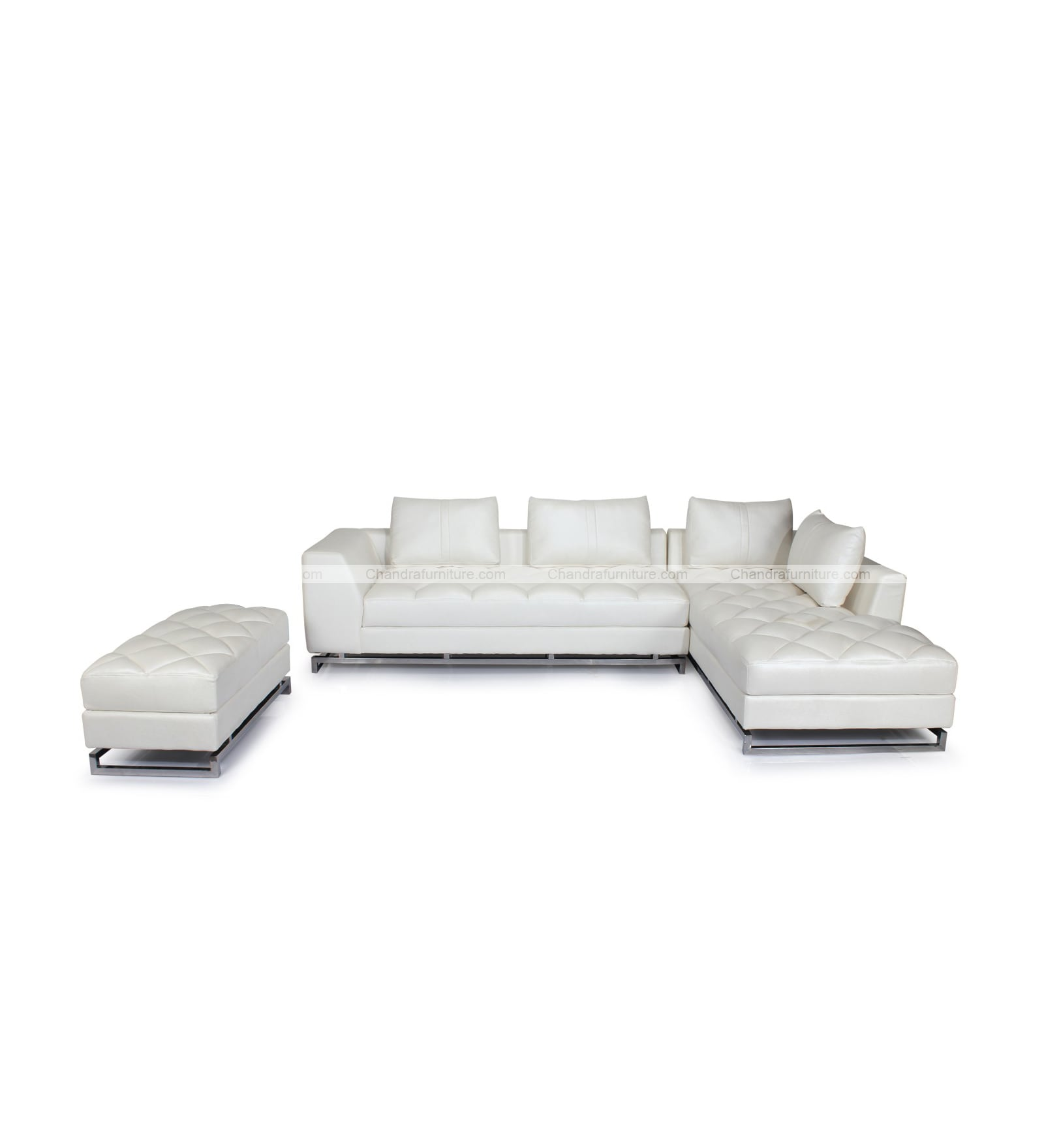 Chandra Furniture Rejoice L Shape Sofa Set With One Large Puffy In White Colour Lathrite