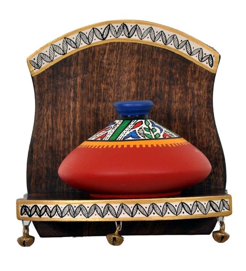 Red Mango Wood & Terracotta Handmade Single Wall Shelf With Earthen Pot