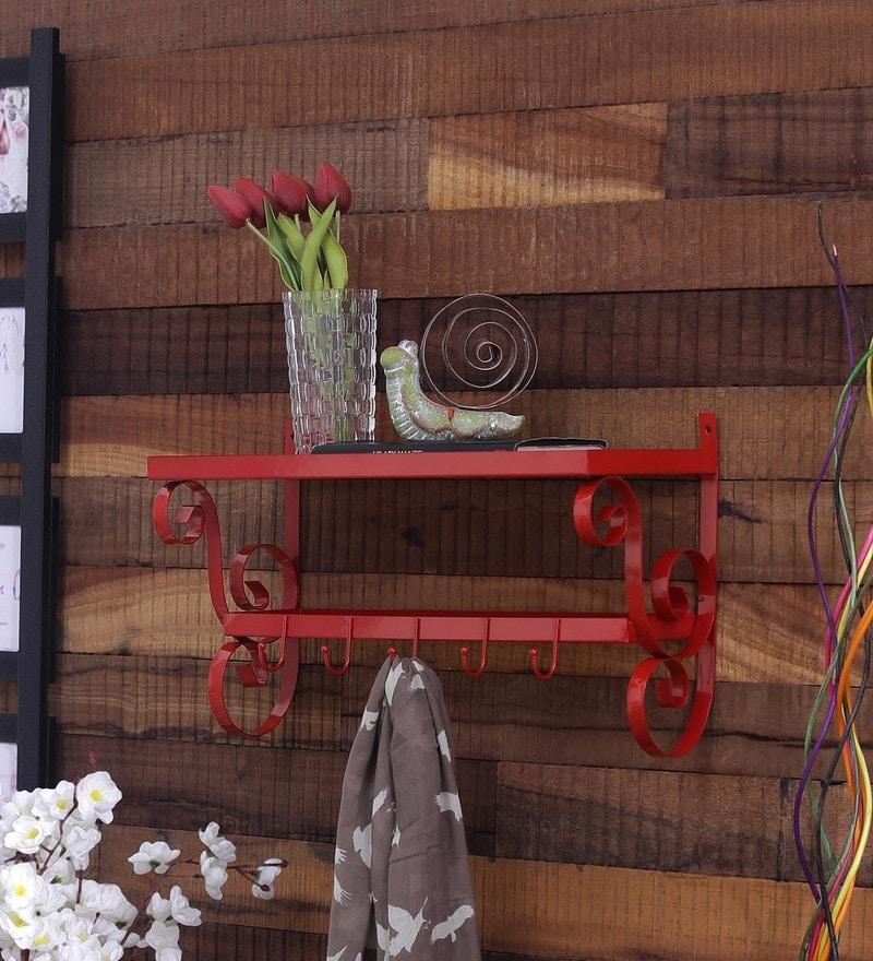 Red Mild Steel Layer Wall Shelf