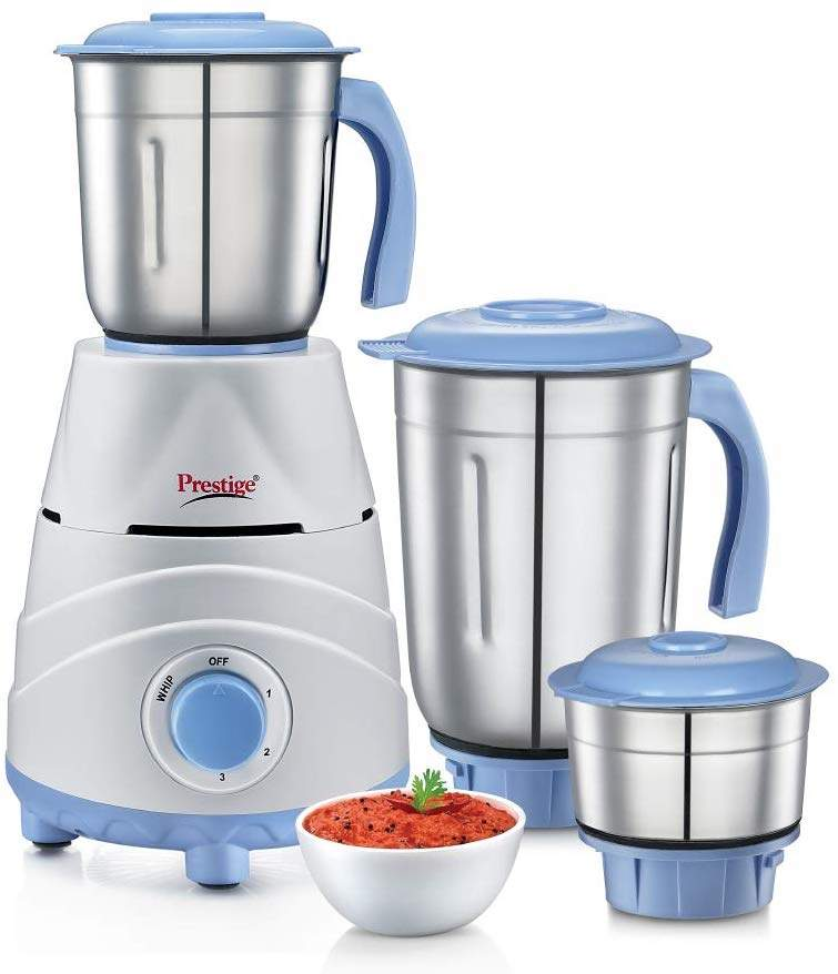 Prestige Tez (550 Watt) Mixer Grinder With 3 Stainless Steel Jars White And Blue