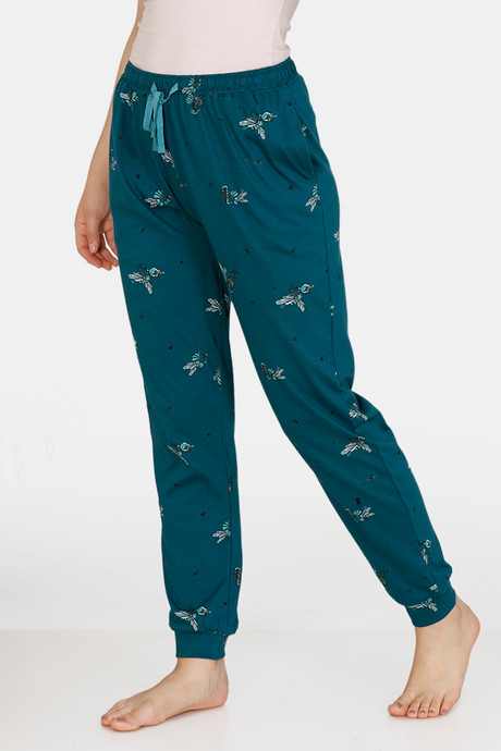 Zivame Queen Bee Antiviral Finish Cotton Pyjama (M, Deep Teal)