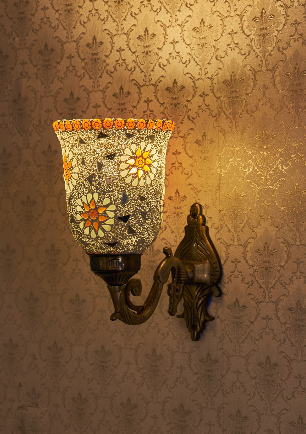 Aura Handcrafted Wall Light Single Head Mosaic Orange Flowers Customizable