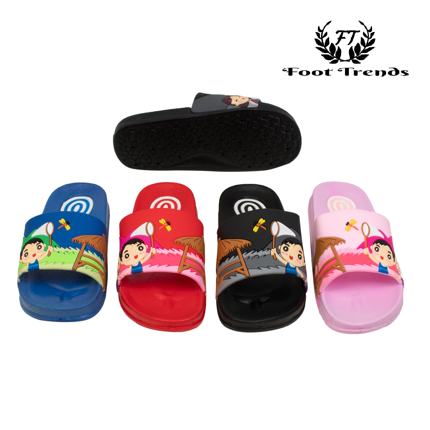 Foot Trends Casual Slippers For Kids B-G-Multi-26-30 (Multi, 26-30, 10 PAIR)