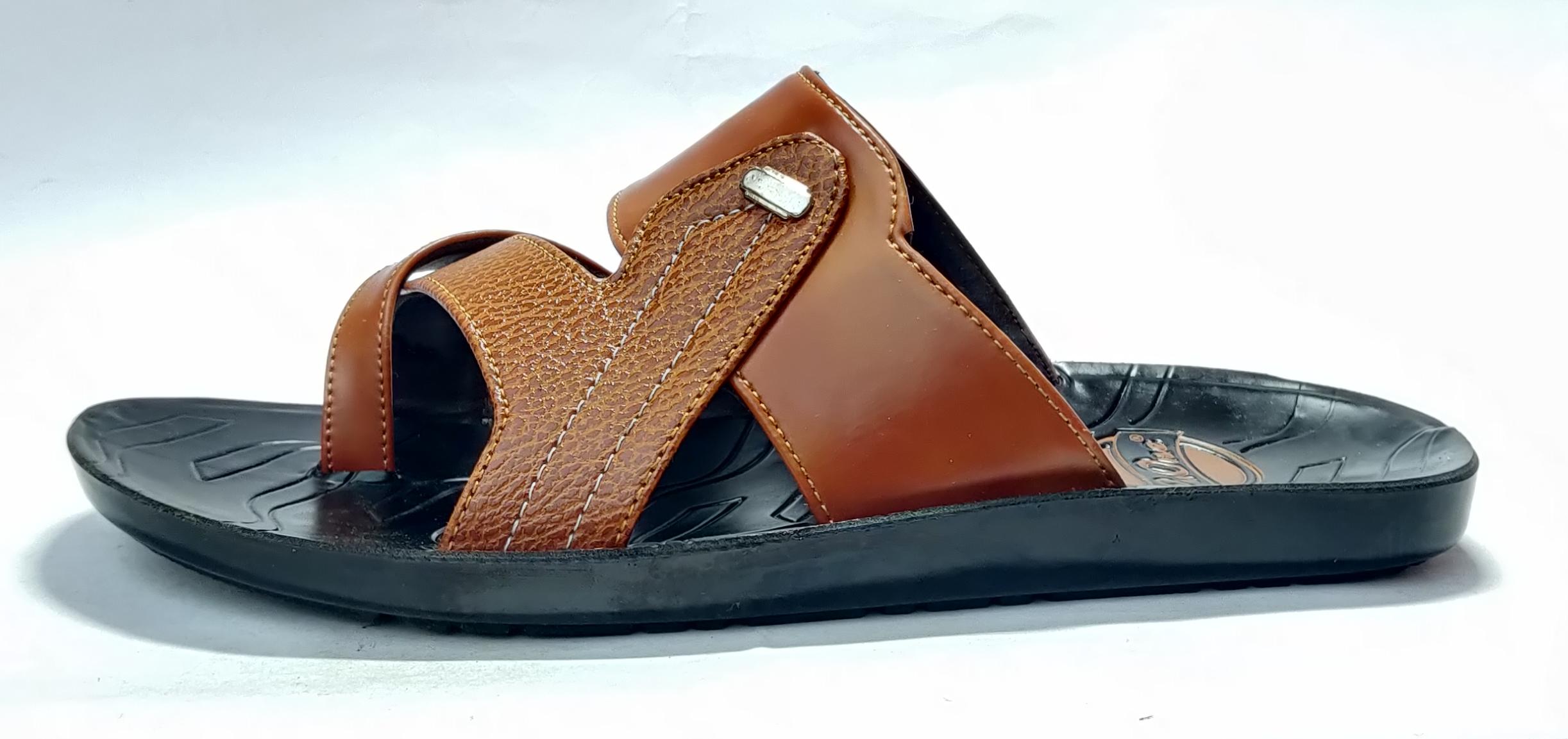 Blue Pop Stylish Comfortable & Trendy Men's Pu Slippers P253 (Tan, 7-10, 8 PAIR)