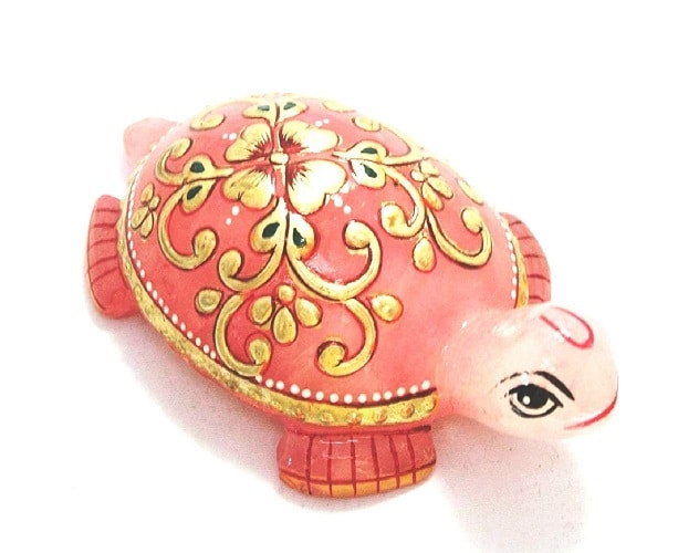 Numeroastro Beautifully Handcrafted & Hand Painted Tortoise   Turtle In Rose Quartz Stone (90-100 Grams Approx) (7 Cms) (1 Pc)