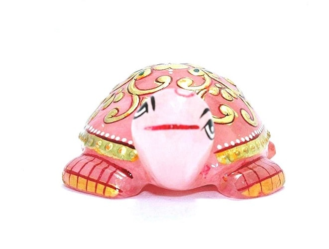 Numeroastro Beautifully Handcrafted & Hand Painted Tortoise | Turtle In Rose Quartz Stone (110-120 Grams Approx) (7.5 Cms) (1 Pc)