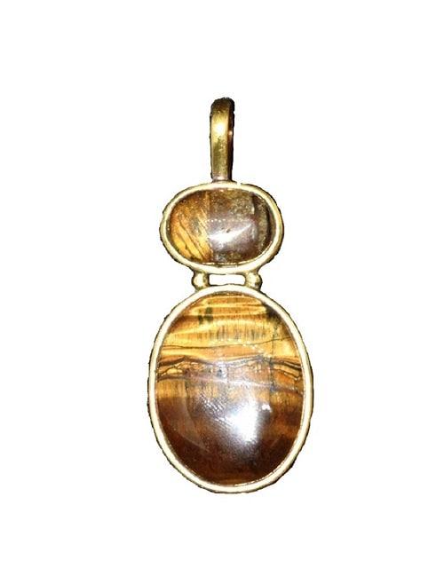 Numeroastro Tiger's Eye Gemstone Pendant In Ashtadhatu For Men & Women (1Pc)