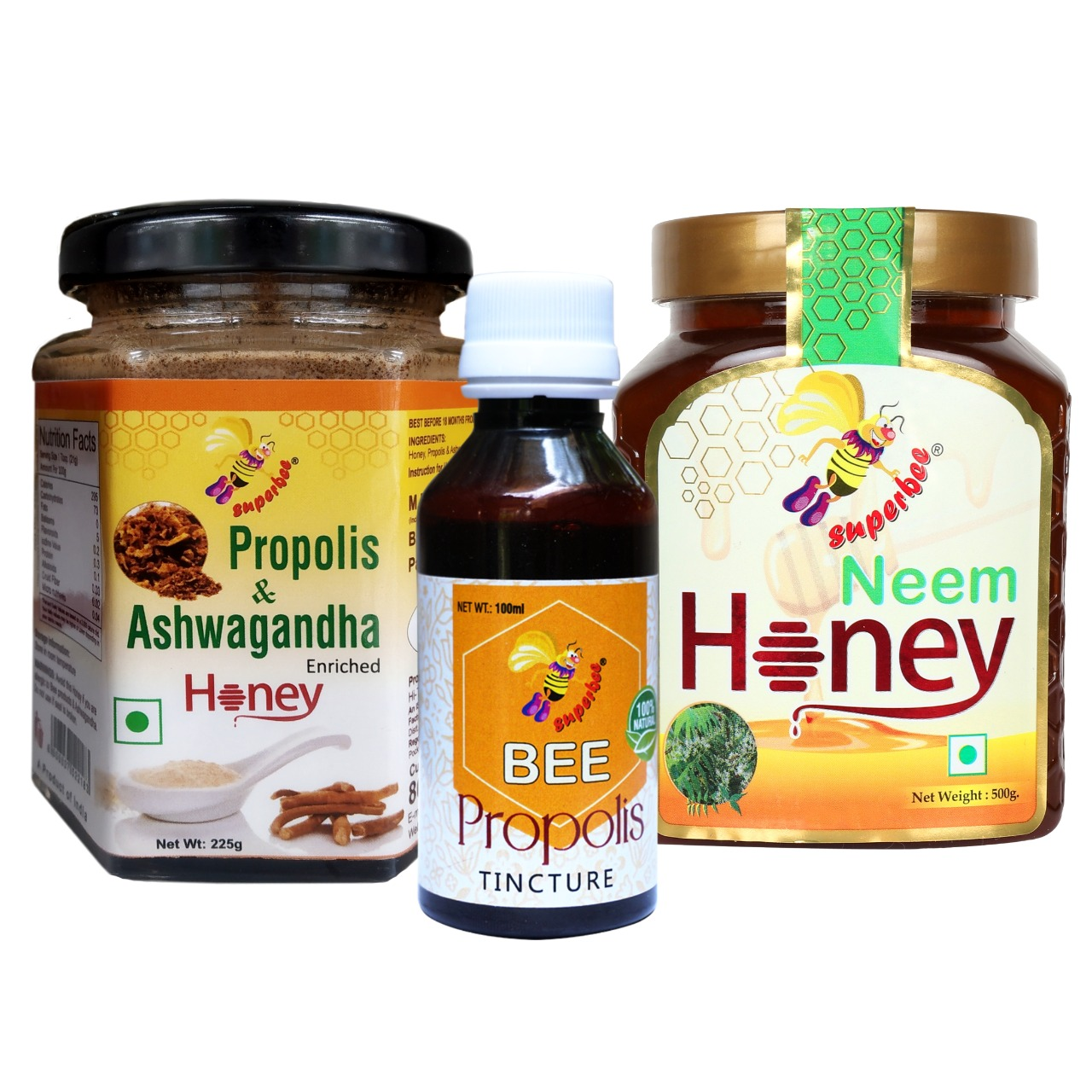 Combo Of Propolis & Ashwagandha Enriched Honey, 225g, Bee Propolis Tincture, 100ml And Neem Honey, 500g