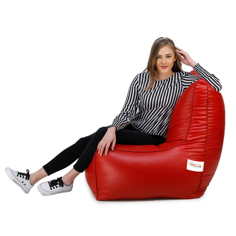 Sattva Chair Style Bean Bag XXXL Bean Bag Filled (with Beans) - Red