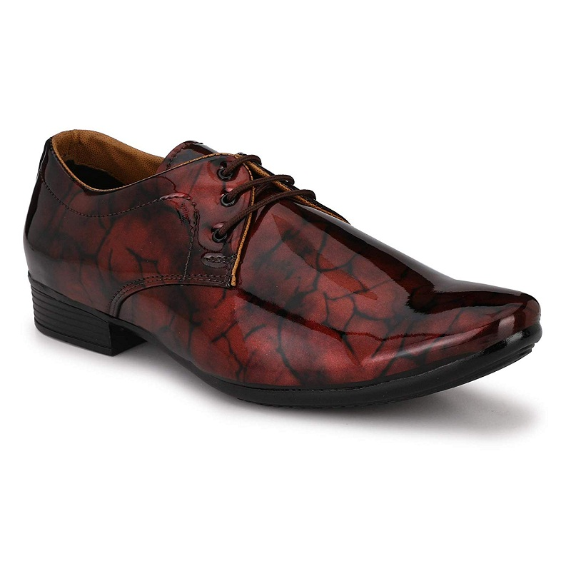 Almighty Men's Patent Leather Printed Shoes For Special Occasion & Party Wear PSL3BUR (Burgundy, 6-10, 8 PAIRS)