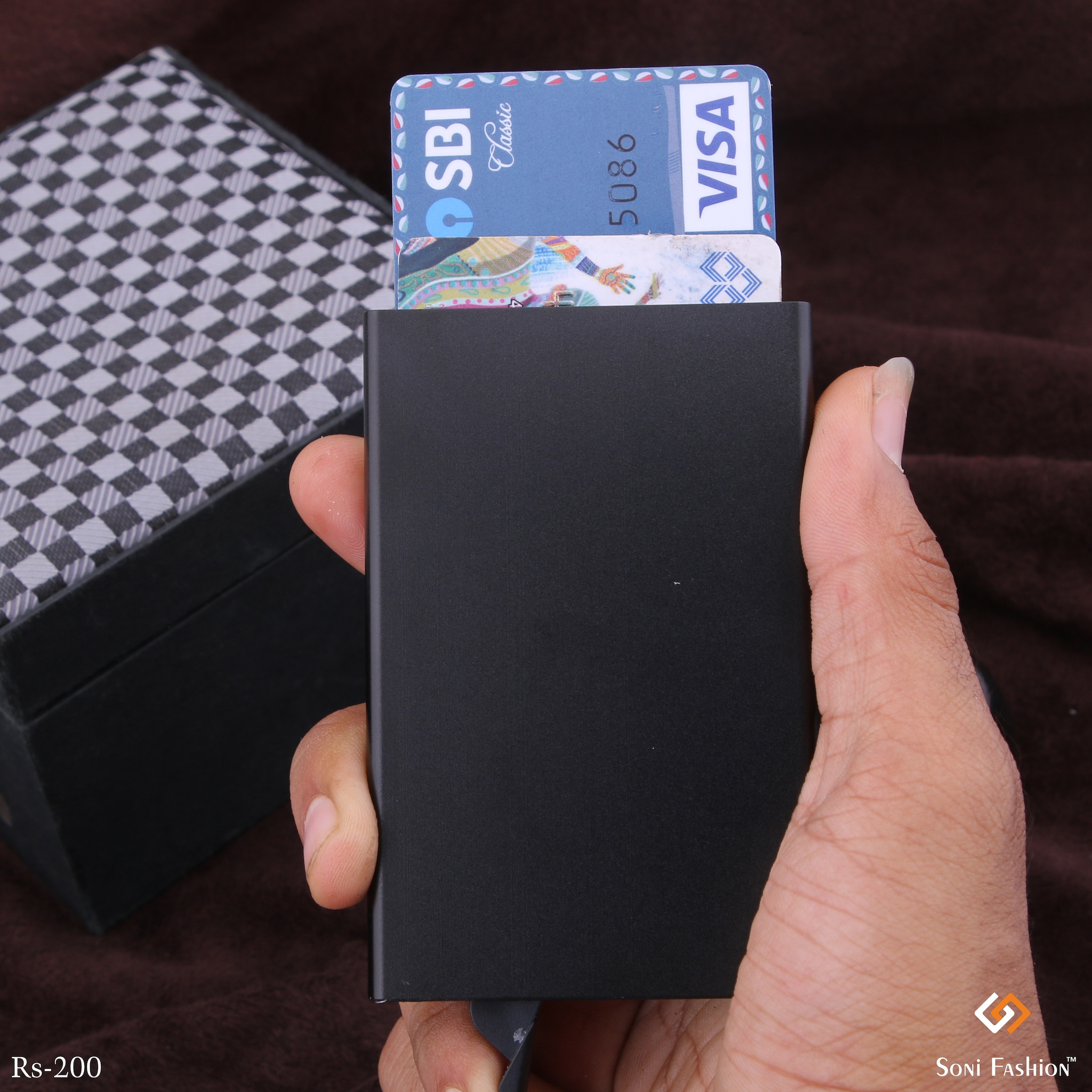 Rectangle Black Atm Card Holder