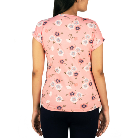 Cozy Floral Printed Tees For Women (L,Baby Pink)