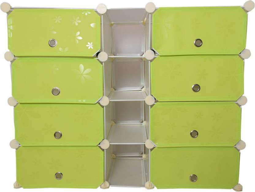 Chrome Plastic Collapsible Shoe Stand(Green, 8 Shelves)