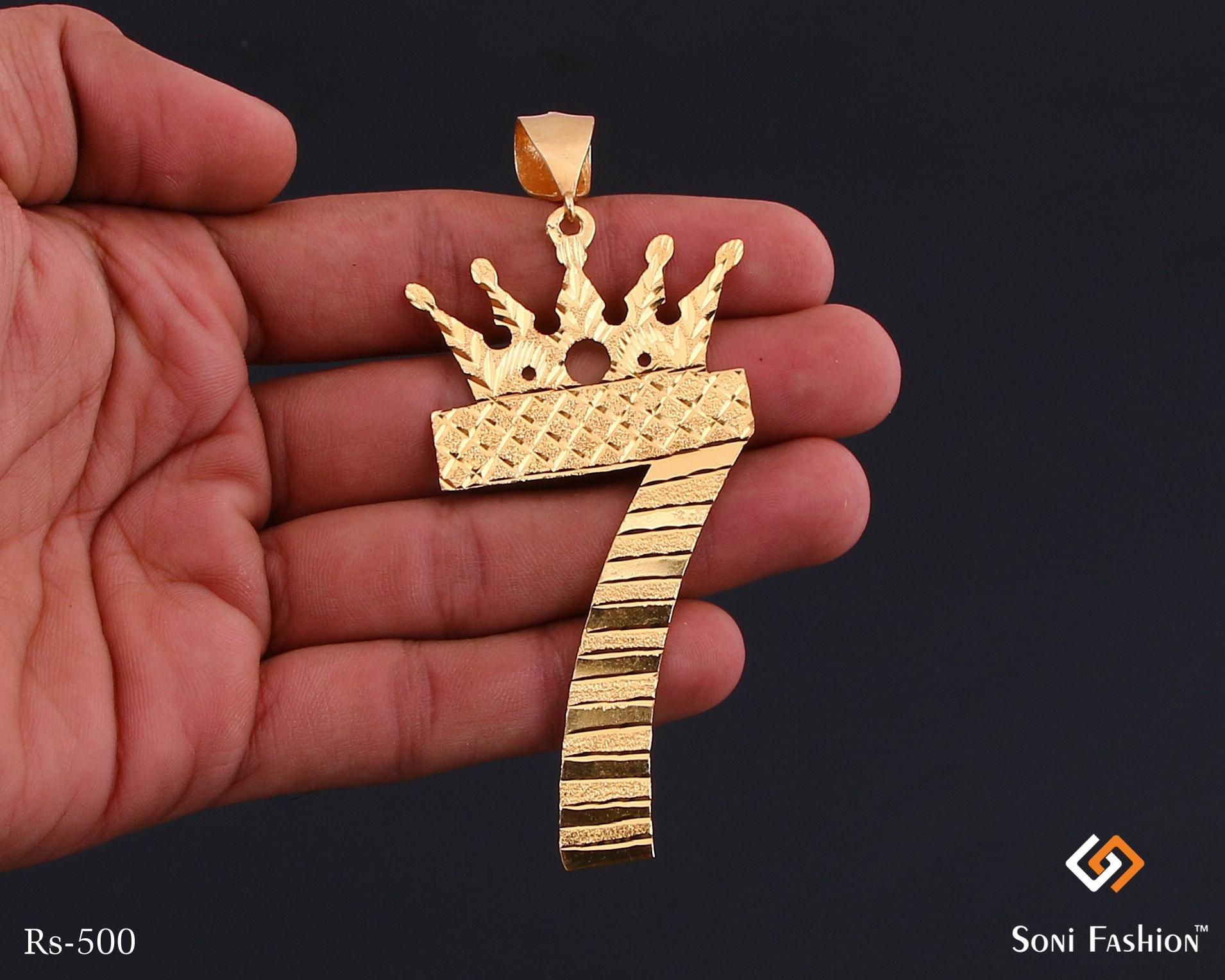 King 7 Number Golden Pendant For Men