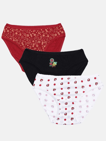 Girl's Panty Pack Of 3 (Printed Assorted Colour) - Organic Cotton (7-8 Y (60 cms), Combo8)