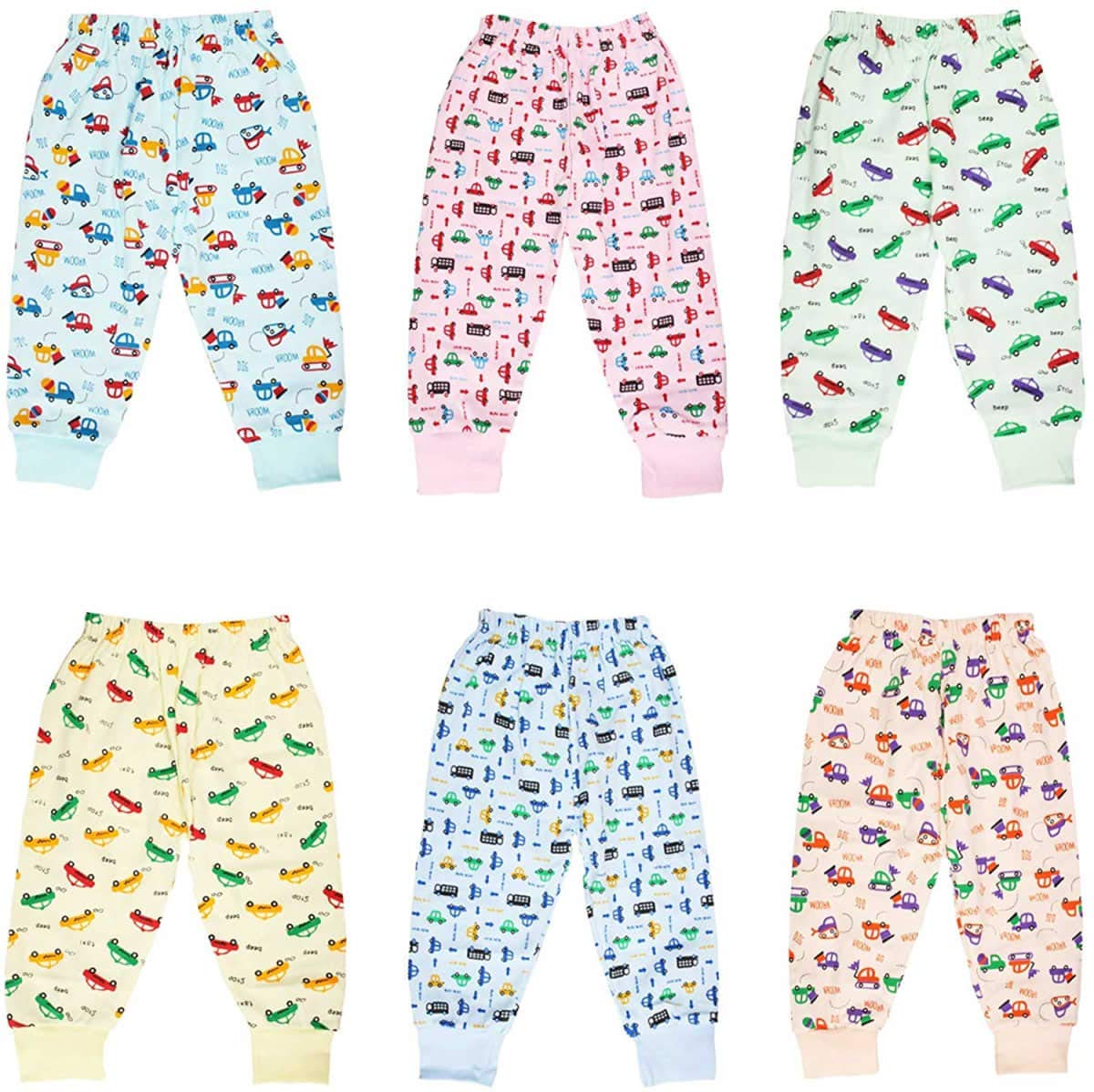Happy Baby's Unisex Hoisery Cotton Full Pant With Rib | Pack Of 6 Sets | For Your 9-12 Months New Born Cuties (Children: L) (9-12 months)