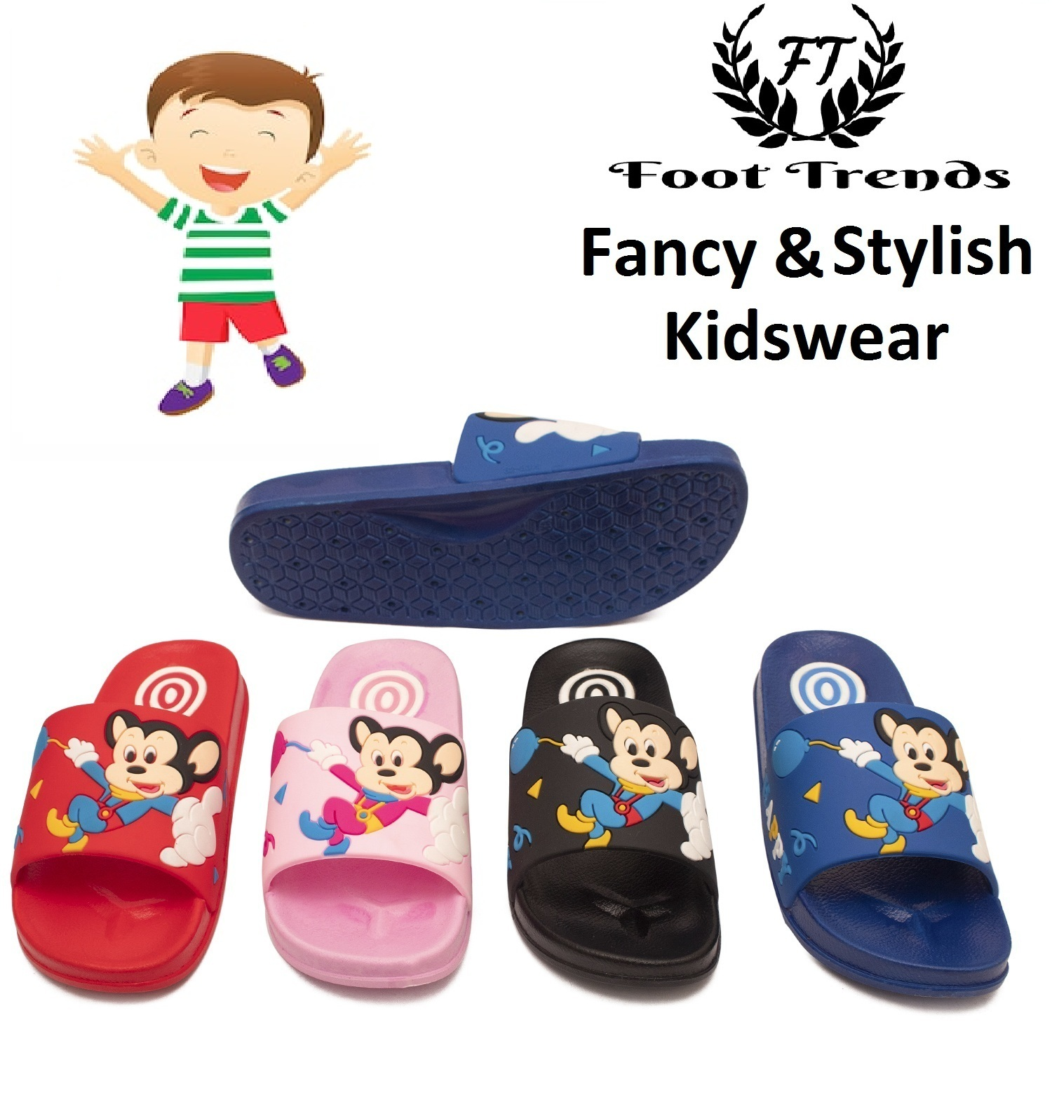 Foot Trends Micky-Mouse Fashionable Slipper For Kids FT-Micky-Mouse26-30 (Multicolor, 26-30, 10 PAIR)