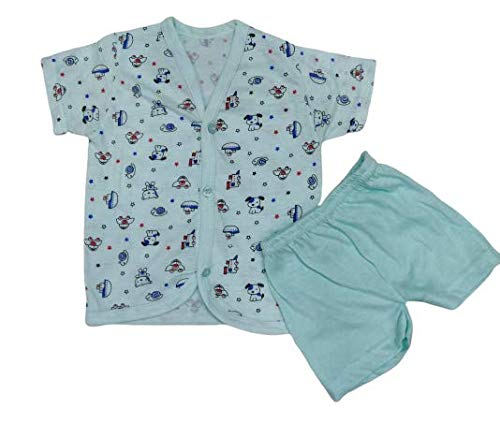 Happy Baby's Unisex Hoisery Cotton Short Sleeve Tshirt And Pant Set   Pack Of 5 Sets   For Your 0-3 Months New Born Cuties (3-6 months)