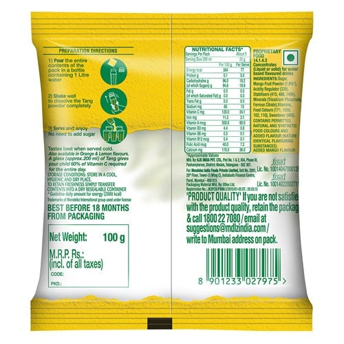 Tang Mango Instant Drink Mix 100 Gm