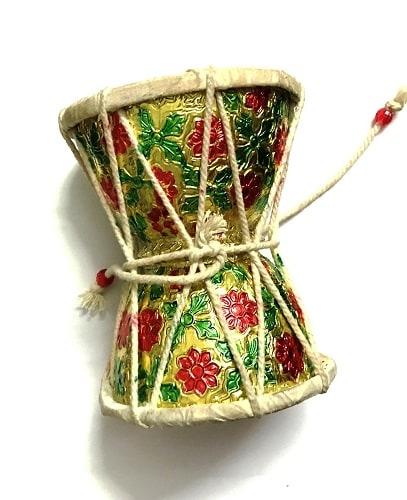 Numeroastro Very Beautifully Handcrafted Brass Damru   Damroo With Multicolour Meenakari For Pooja (12 Cms) (1 Pc)