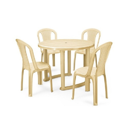 Nilkamal Meridian Dining Table (Marble Beige) With CHR 4002 Chair