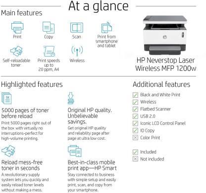 HP 1200w Multi-function WiFi Monochrome Laser Printer (White, Grey, Toner Cartridge)