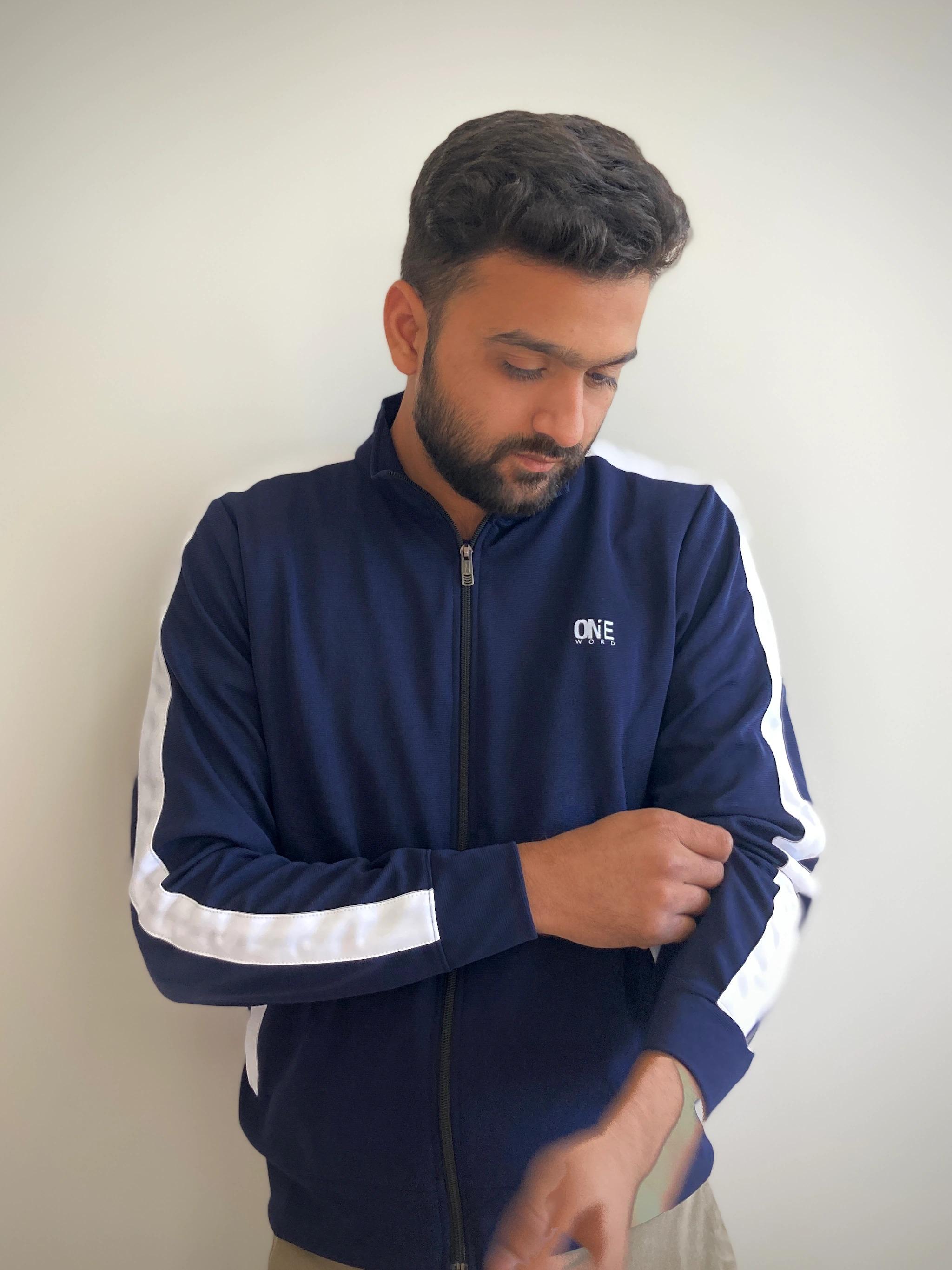 One Word Navy Blue Track Jacket (XL)