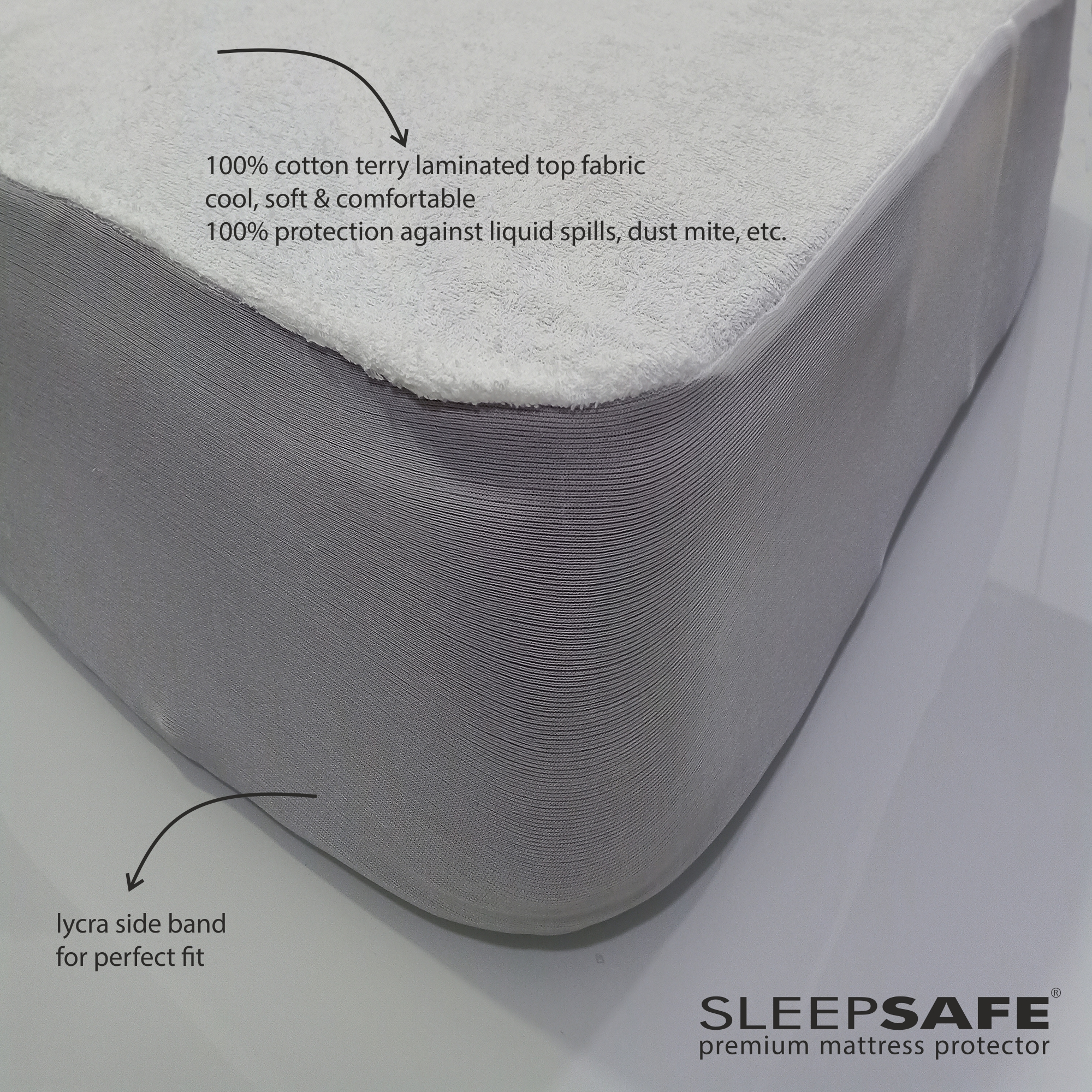 "Sleepsafe Mattress Protector Cotton Terry (60""x72"", White)"