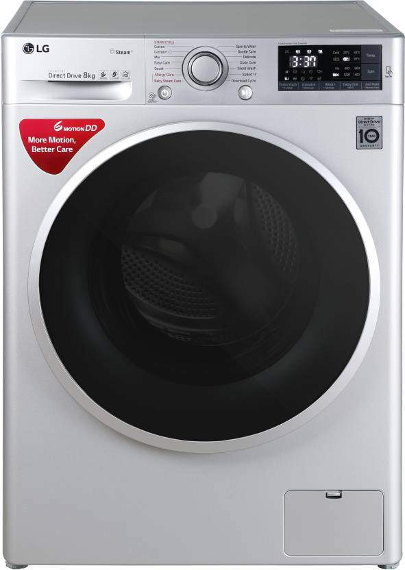 LG 8 Kg Fully Automatic Front Load Washing Machine With Wifi Silver(FHT1408SWL)
