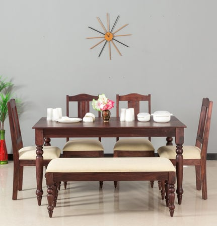 Calgary Solid Wood Six Seater Dining Set With Bench In Rosewood Fine Finish By Furniselan SKU FS 1365 VAP 1355