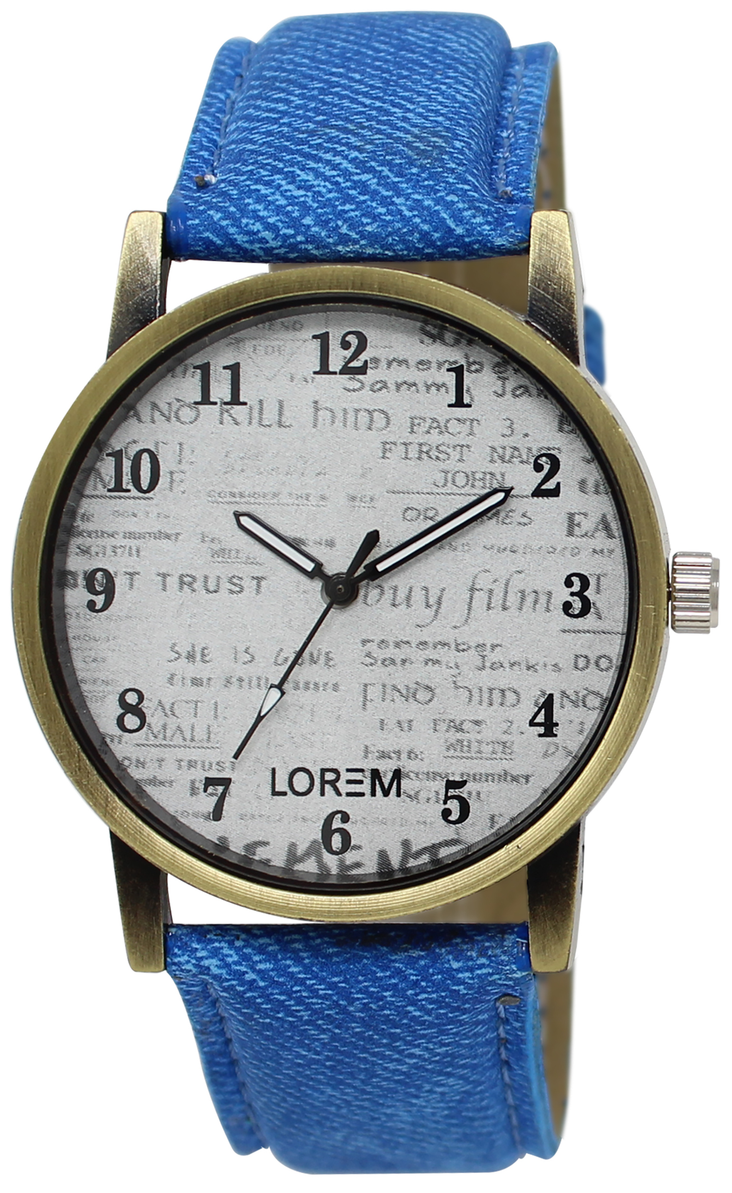 LOREM Analogue White Dial Blue Strap Wrist Men's Watch