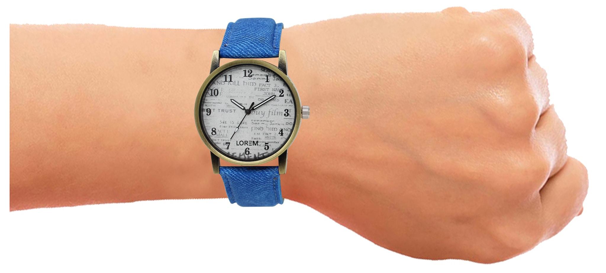 LOREM Analogue White Dial Blue Strap Wrist Men's Watch