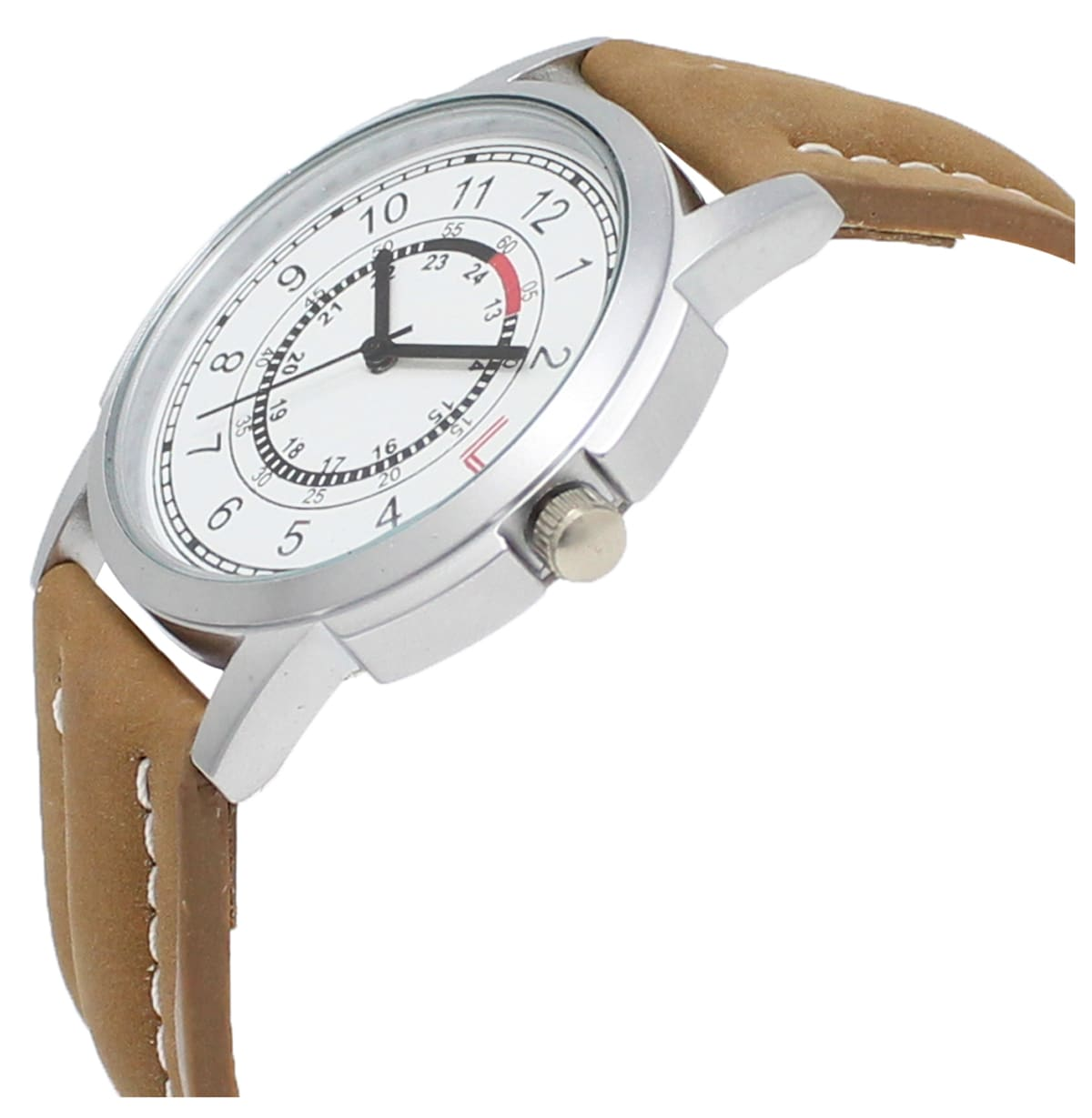 LOREM  White-Brown Round Leather Analog Watch - For Men