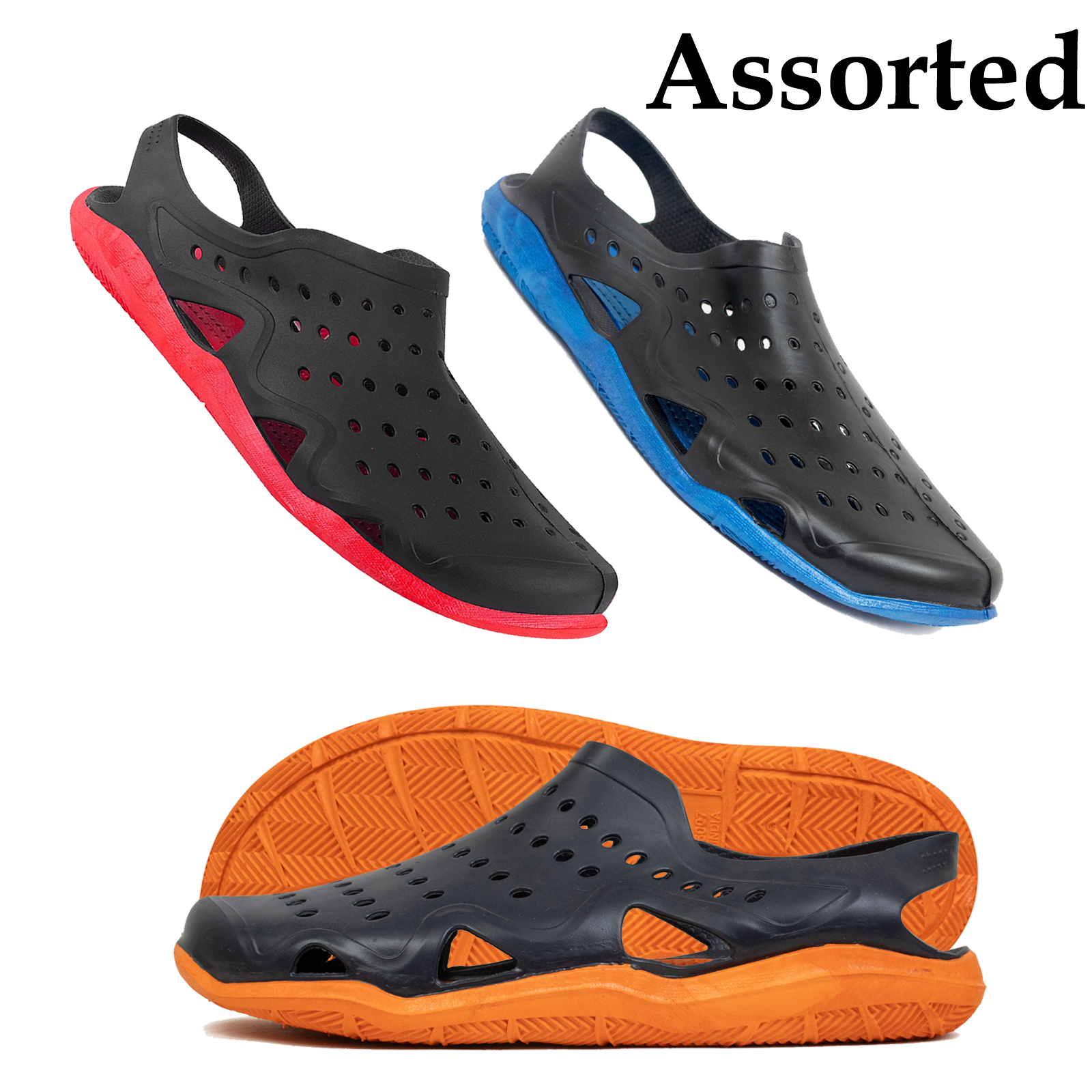 Foot Trends 6007-Color-Sole-Combo PK 12 (30-35) Clog For Kids (Multi, 30/2,31/2,32/2,33/2,34/2,35/2, PAIR'S)