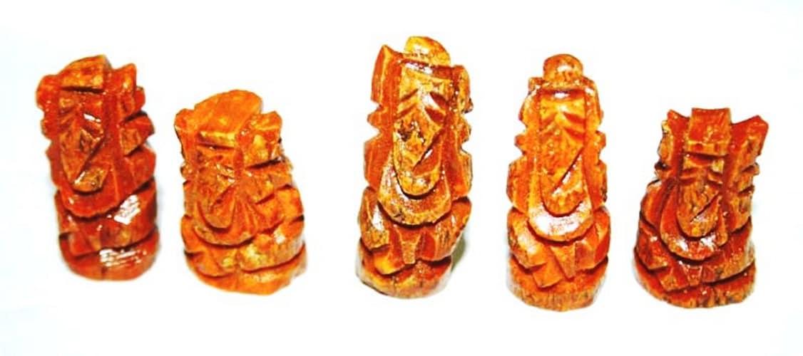 Numeroastro Carved Haldi Turmeric Lord Ganesha Idol (Set Of 5)- 1.5 Cm