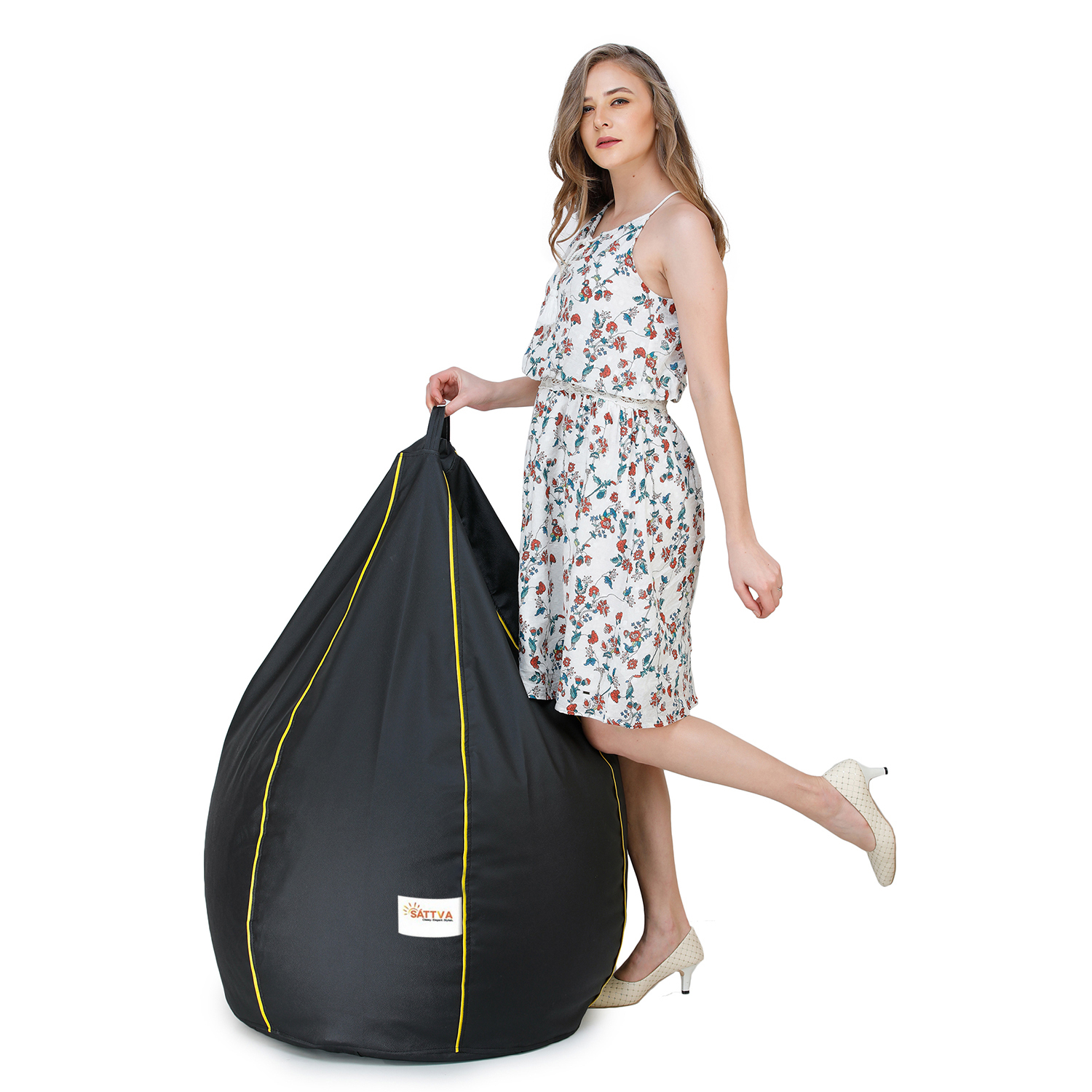 SATTVA Classy.Elegant.Stylish Classic XXL Bean Bag Filled With Beans - Black With Yellow Piping
